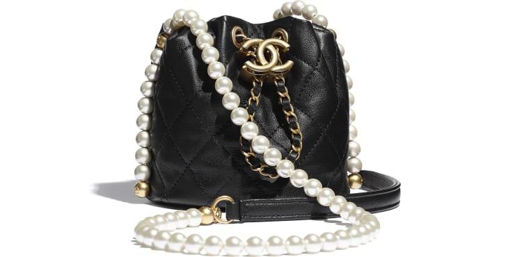 image 1 - Mini Drawstring Bag - Calfskin, Imitation Pearls & Gold-Tone Metal - Black