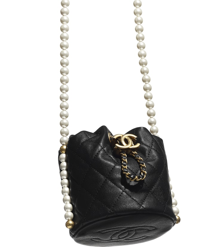 image 4 - Mini Drawstring Bag - Calfskin, Imitation Pearls & Gold-Tone Metal - Black