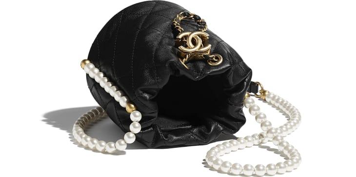image 3 - Mini Drawstring Bag - Calfskin, Imitation Pearls & Gold-Tone Metal - Black