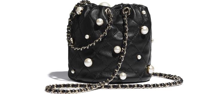 image 2 - Mini sac à fermeture cordon - Agneau, perles d'imitation & métal doré - Noir