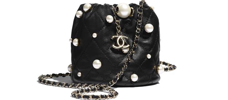 image 1 - Mini sac à fermeture cordon - Agneau, perles d'imitation & métal doré - Noir