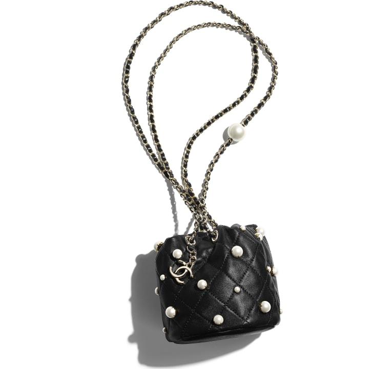 image 4 - Mini sac à fermeture cordon - Agneau, perles d'imitation & métal doré - Noir