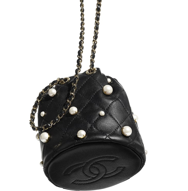 image 3 - Mini sac à fermeture cordon - Agneau, perles d'imitation & métal doré - Noir