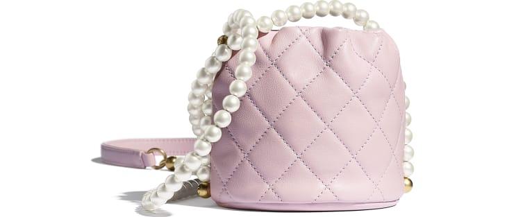 image 2 - Mini sac à fermeture cordon - Veau, perles d'imitation & métal doré - Rose clair