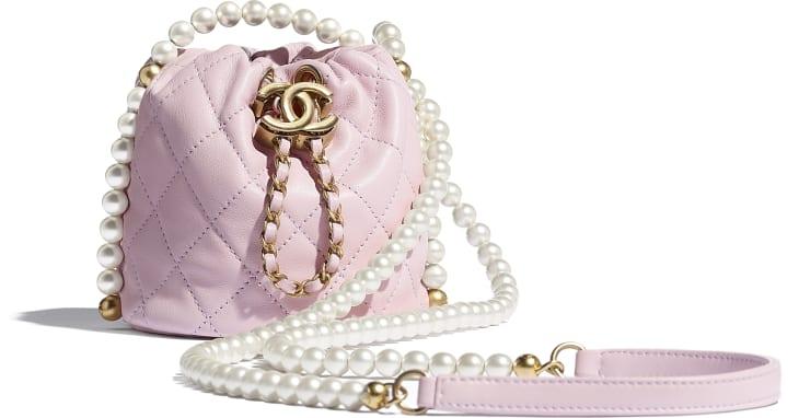 image 1 - Mini sac à fermeture cordon - Veau, perles d'imitation & métal doré - Rose clair