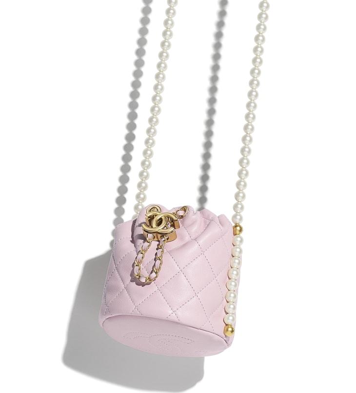 image 4 - Mini sac à fermeture cordon - Veau, perles d'imitation & métal doré - Rose clair
