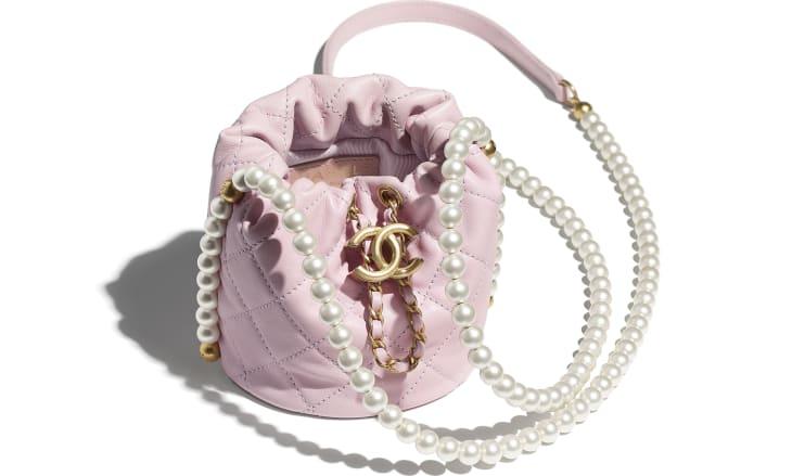 image 3 - Mini sac à fermeture cordon - Veau, perles d'imitation & métal doré - Rose clair