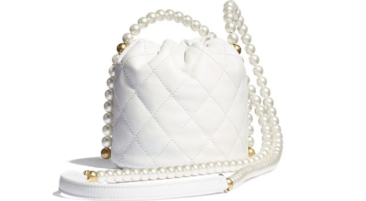 image 2 - Mini Drawstring Bag - Couro de novilho, pérolas de resina & metal dourado - Branco