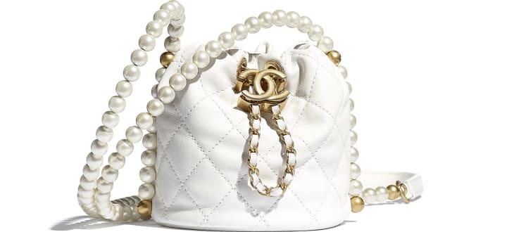 image 1 - Mini Drawstring Bag - Couro de novilho, pérolas de resina & metal dourado - Branco