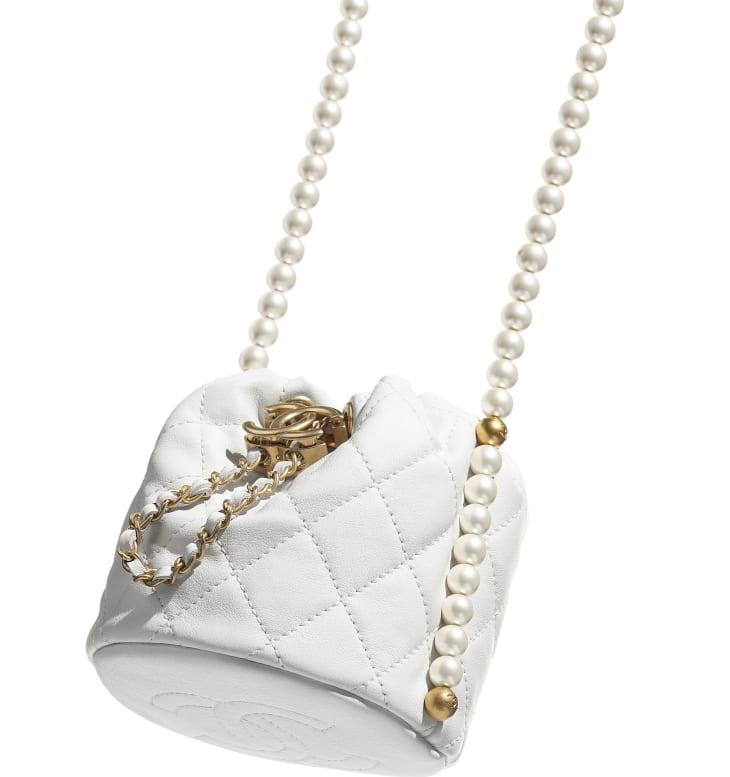 image 4 - Mini Drawstring Bag - Couro de novilho, pérolas de resina & metal dourado - Branco