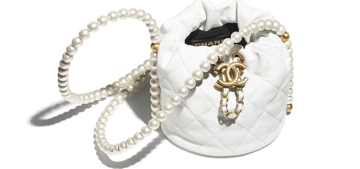 image 3 - Mini Drawstring Bag - Couro de novilho, pérolas de resina & metal dourado - Branco