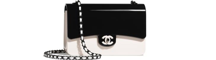 image 1 - Mini sac du soir - Plexi & métal noir - Noir & blanc