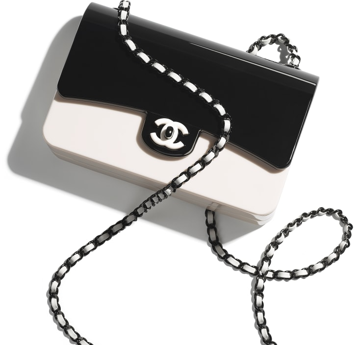 image 4 - Mini sac du soir - Plexi & métal noir - Noir & blanc