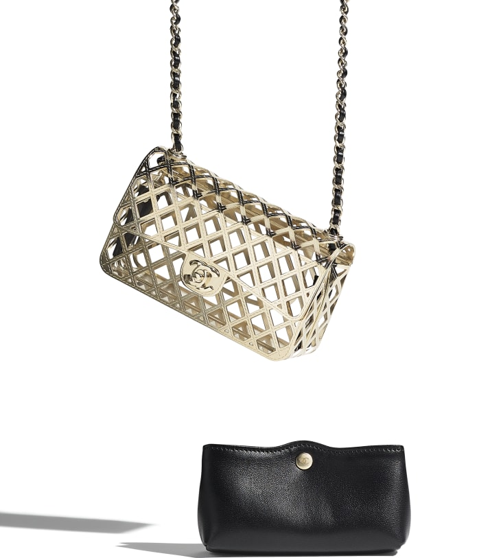 image 4 - Mini Evening Bag - Gold-Tone Metal & Lambskin - Gold & Black
