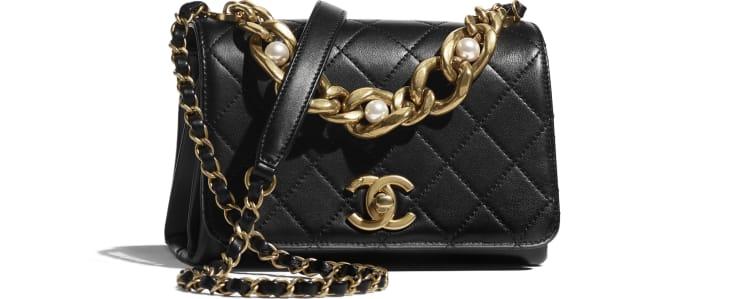 image 1 - Mini Flap Bag - Calfskin & Gold-Tone Metal - Black
