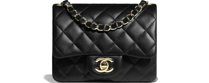 image 1 - Mini Flap Bag - Lambskin & Gold-Tone Metal - Black