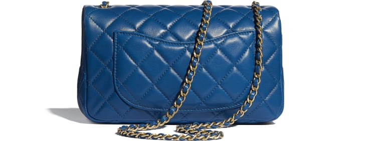 image 2 - Mini Flap Bag - Lambskin & Gold-Tone Metal - Blue