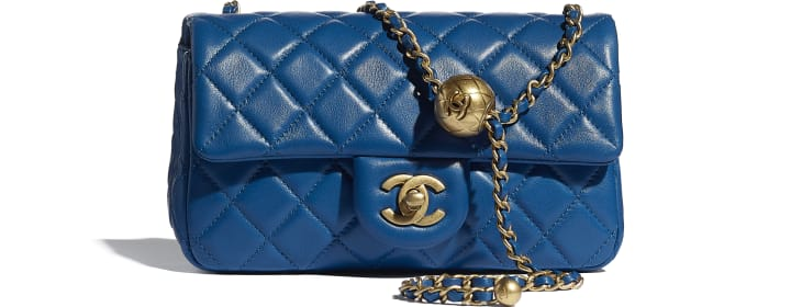 image 1 - Mini Flap Bag - Lambskin & Gold-Tone Metal - Blue