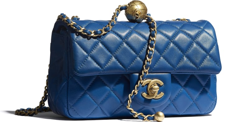 image 4 - Mini Flap Bag - Lambskin & Gold-Tone Metal - Blue