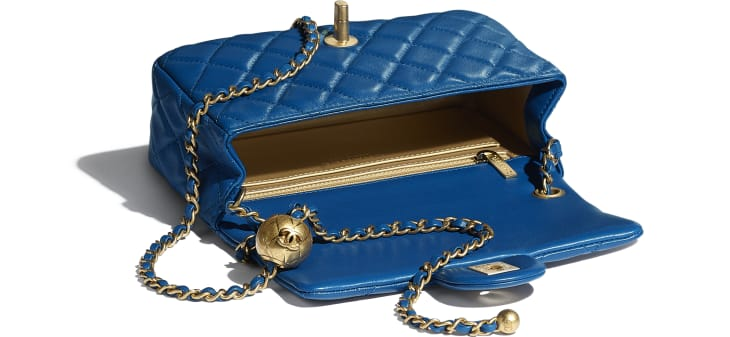 image 3 - Mini Flap Bag - Lambskin & Gold-Tone Metal - Blue