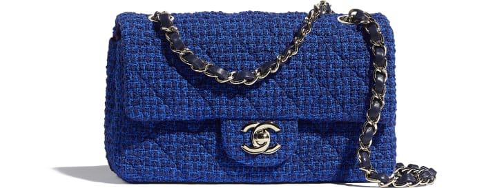 image 1 - Bolsa Mini - Tweed & Metal Dourado - Azul & Azul Marinho