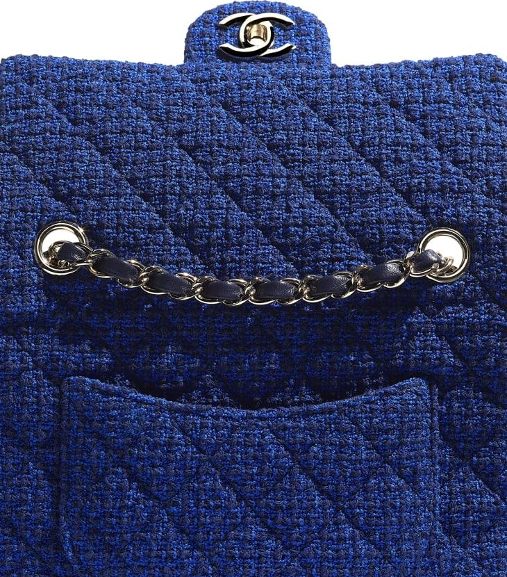 image 4 - Bolsa Mini - Tweed & Metal Dourado - Azul & Azul Marinho