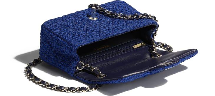 image 3 - Bolsa Mini - Tweed & Metal Dourado - Azul & Azul Marinho