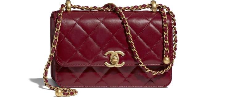 image 1 - Mini Flap Bag - Calfskin & Gold-Tone Metal - Burgundy