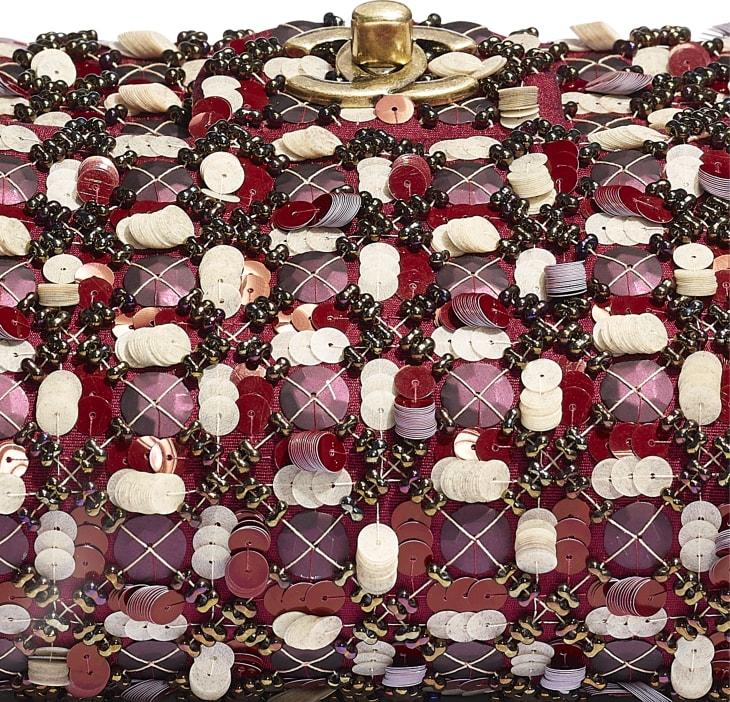 image 4 - Mini Flap Bag - Satin, Sequins, Glass Pearls & Gold-Tone Metal - Burgundy, Pink & White