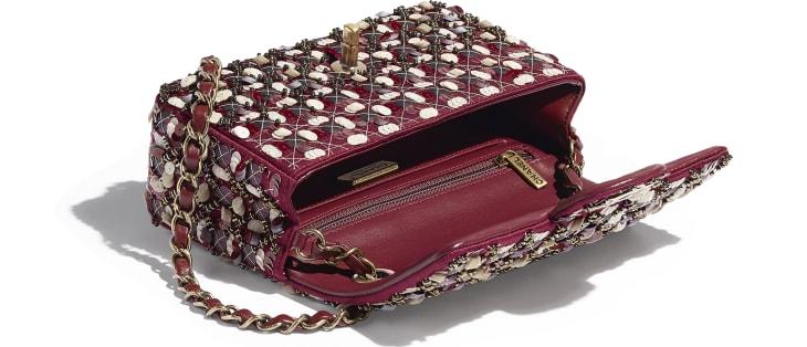 image 3 - Mini Flap Bag - Satin, Sequins, Glass Pearls & Gold-Tone Metal - Burgundy, Pink & White