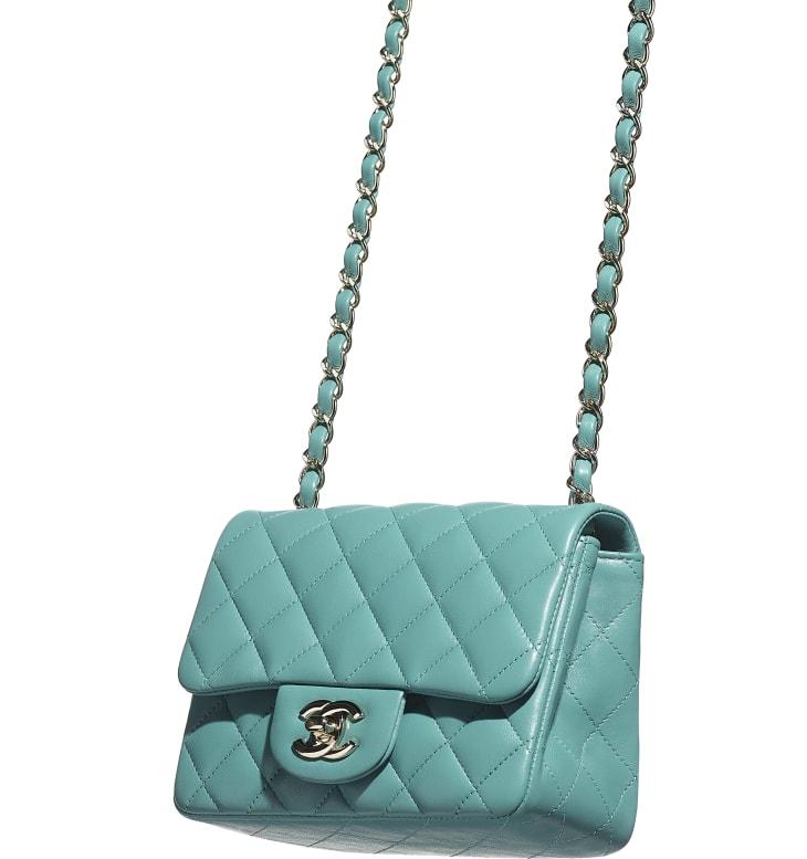 image 4 - Mini sac à rabat - Agneau & métal doré - Vert
