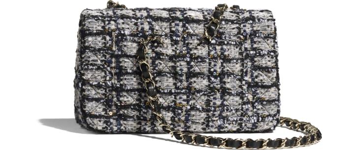 image 2 - Mini Flap Bag - Glittered Tweed & Gold-Tone Metal - Navy Blue, Gray & Silver