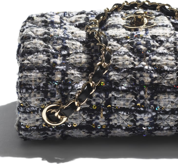 image 4 - Mini Flap Bag - Glittered Tweed & Gold-Tone Metal - Navy Blue, Gray & Silver