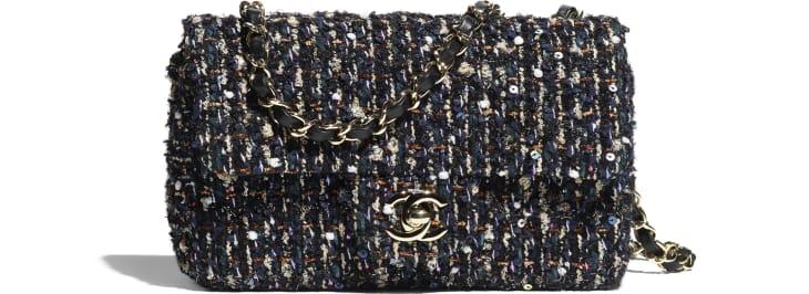 image 1 - Mini Flap Bag - Glittered Tweed & Gold-Tone Metal - Navy Blue & Multicolor