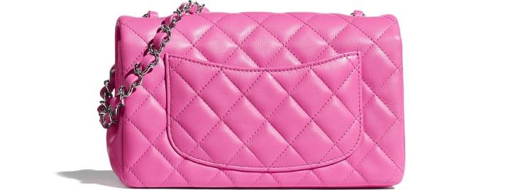 image 2 - Mini Flap Bag - Lambskin & Silver-Tone Metal - Neon Pink
