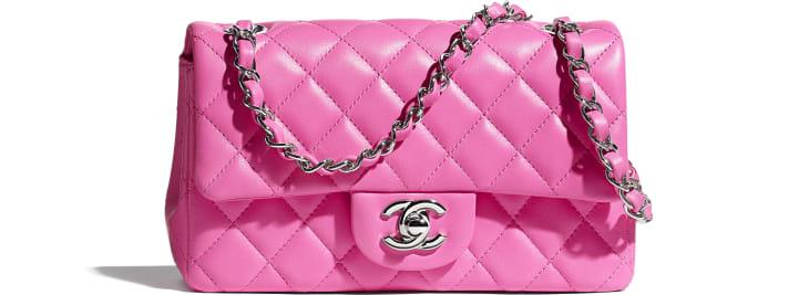 image 1 - Mini Flap Bag - Lambskin & Silver-Tone Metal - Neon Pink
