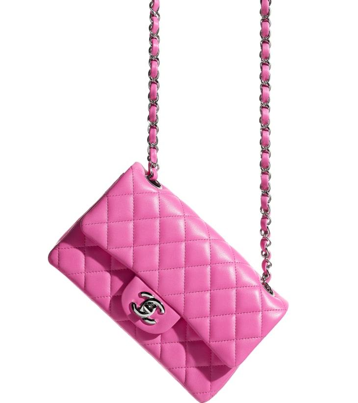 image 4 - Mini Flap Bag - Lambskin & Silver-Tone Metal - Neon Pink