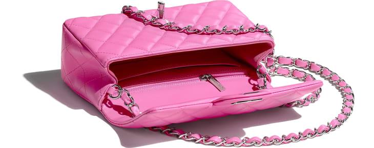 image 3 - Mini Flap Bag - Lambskin & Silver-Tone Metal - Neon Pink