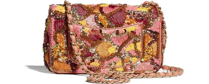 image 2 - Bolsa Mini - Paetê, Fibras Mistas, Pérolas de Vidro, Couro de Cordeiro & Metal Dourado - Rosa, Branco, Amarelo e Laranja