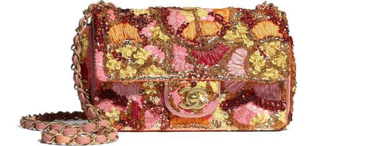 image 1 - Bolsa Mini - Paetê, Fibras Mistas, Pérolas de Vidro, Couro de Cordeiro & Metal Dourado - Rosa, Branco, Amarelo e Laranja