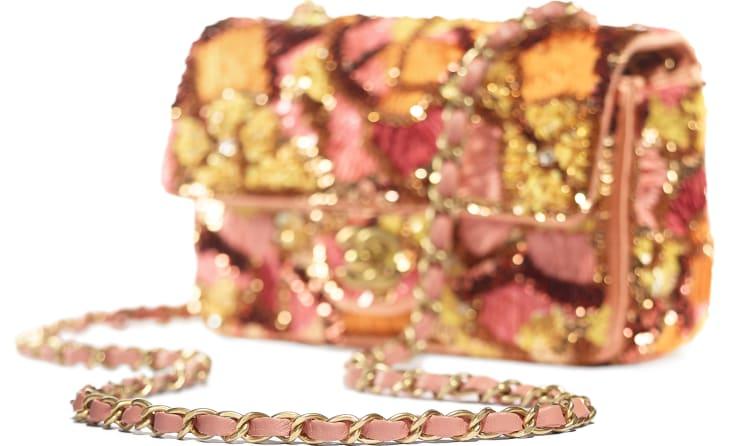 image 4 - Bolsa Mini - Paetê, Fibras Mistas, Pérolas de Vidro, Couro de Cordeiro & Metal Dourado - Rosa, Branco, Amarelo e Laranja