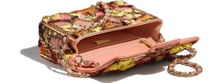 image 3 - Bolsa Mini - Paetê, Fibras Mistas, Pérolas de Vidro, Couro de Cordeiro & Metal Dourado - Rosa, Branco, Amarelo e Laranja