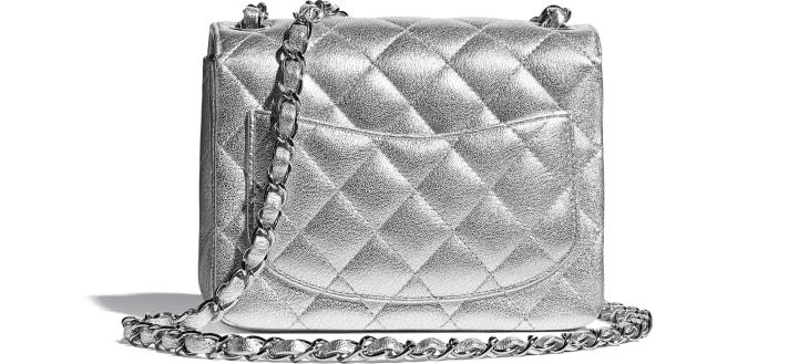 image 2 - Mini sac à rabat - Agneau métallisé & métal argenté - Argenté