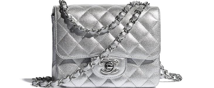image 1 - Mini Flap Bag - Metallic Lambskin & Silver-Tone Metal - Silver