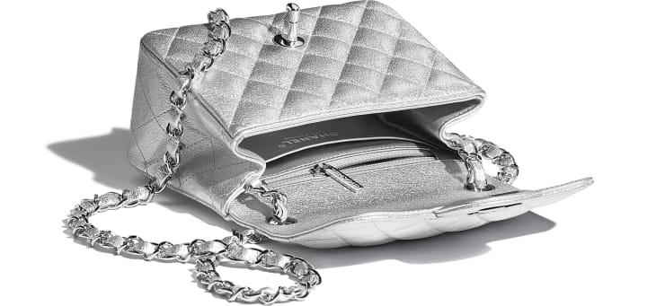 image 3 - Mini Flap Bag - Metallic Lambskin & Silver-Tone Metal - Silver