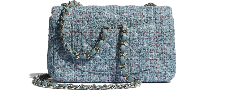 image 2 - Mini Flap Bag - Tweed & Gold-Tone Metal - Turquoise, Purple, White & Red