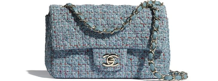 image 1 - Mini Flap Bag - Tweed & Gold-Tone Metal - Turquoise, Purple, White & Red