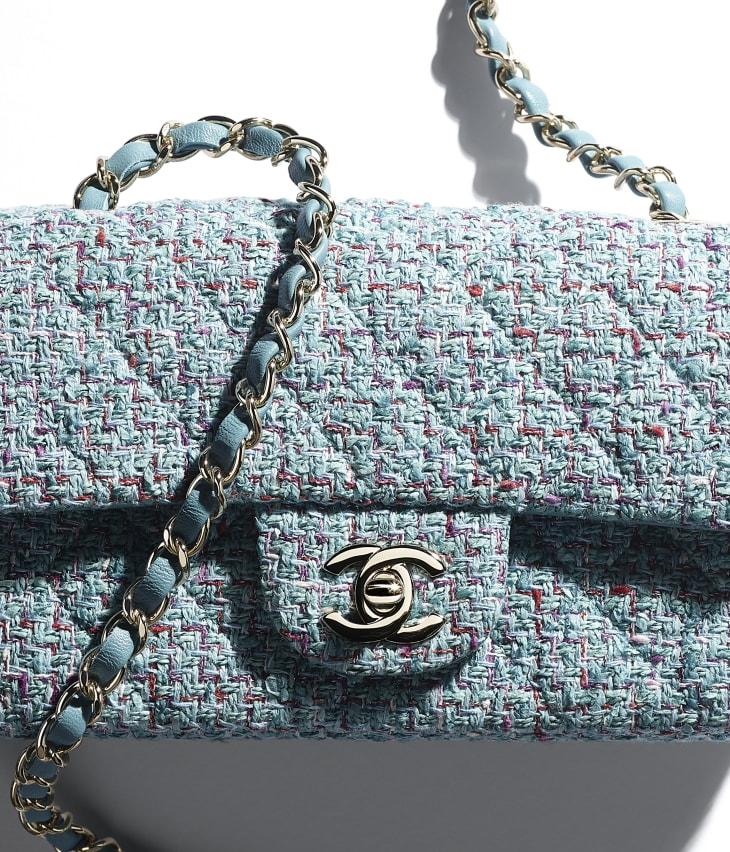 image 4 - Mini Flap Bag - Tweed & Gold-Tone Metal - Turquoise, Purple, White & Red