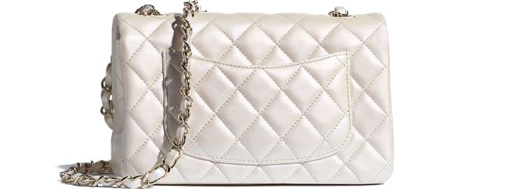 image 2 - Mini Flap Bag - Iridescent Calfskin & Gold-Tone Metal - White