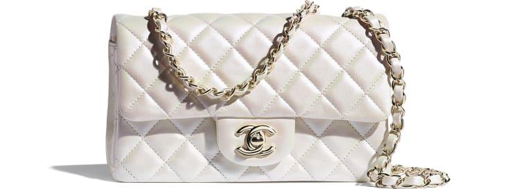 image 1 - Mini Flap Bag - Iridescent Calfskin & Gold-Tone Metal - White